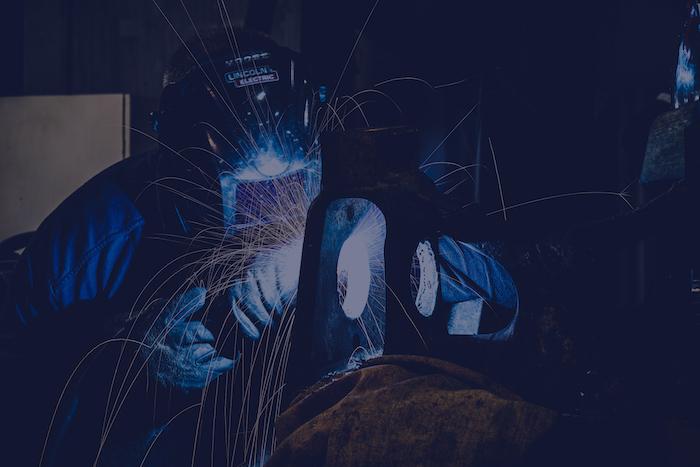 welder showing off some welding sparks